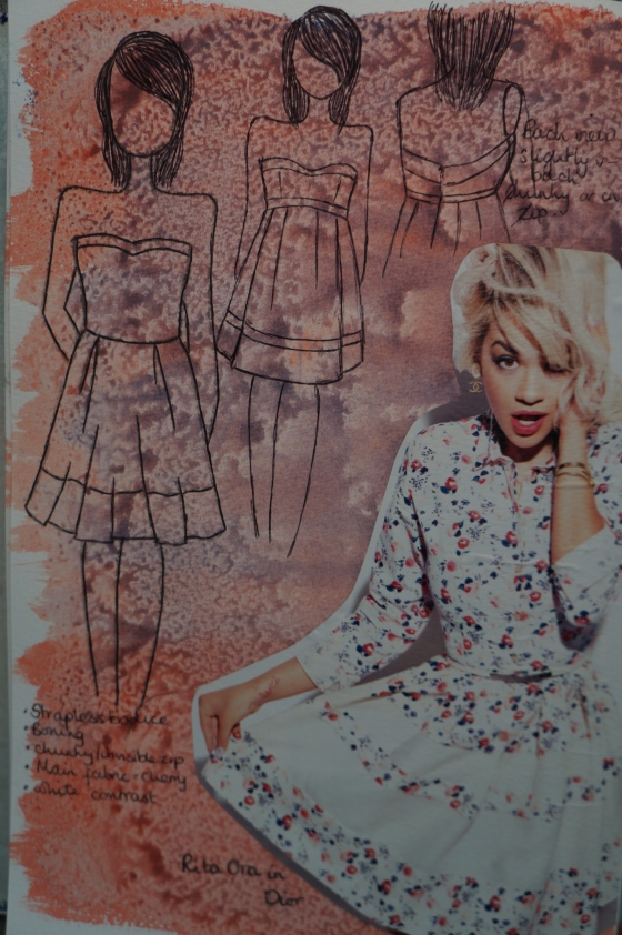 The initial sketch plus Rita Ora in a Dior dress, which inspired part of the colour combination