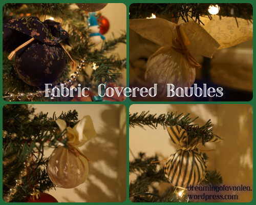 Just cut a square of fabric big enough to go around tacky baubles and then tie with a bow ribbon - simples