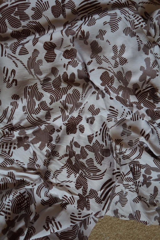 Vintage synthetic silky fabric - brown pattern on white length - 86ins width - 35ins