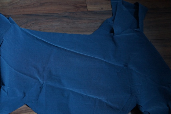 blue / grey stretch fabric large remnant piece